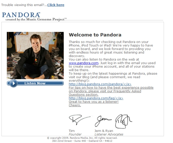 E-mail I received from Pandora