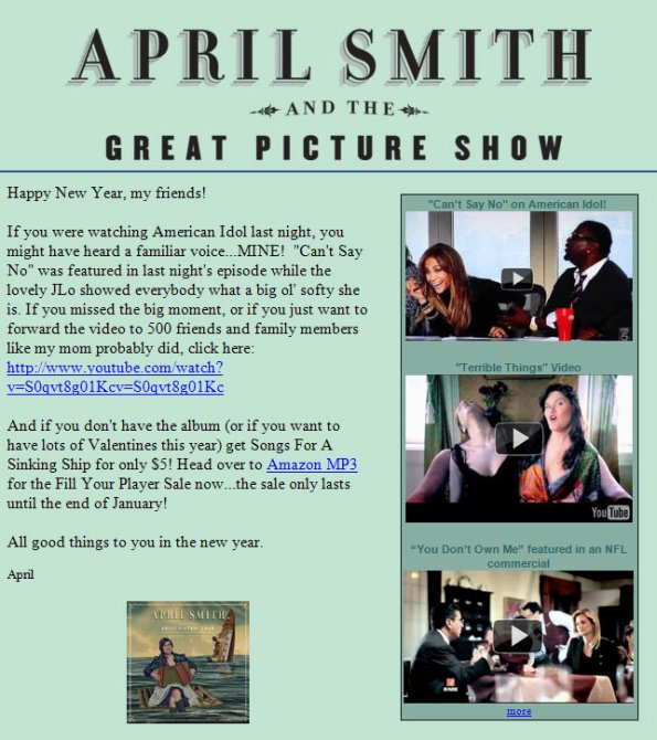 Email from April Smith and the Great Picture Show