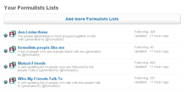 Screenshot of the Formulists tool