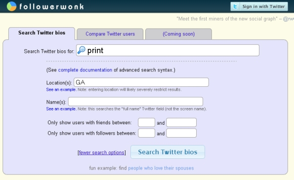 FollowerWonk: Search Page