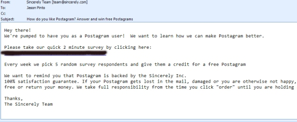 Postagram Survey Email