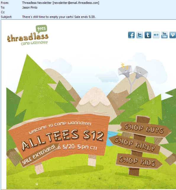 Threadless: Email Reminding Me About My Open Shopping Cart