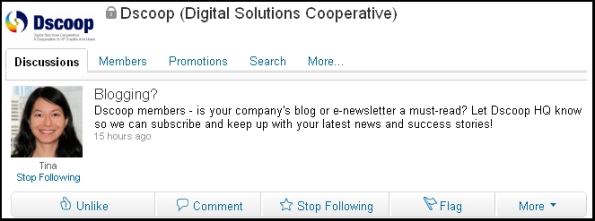 Dscoop's Post on their LinkedIn Group -- Seeking Member Blogs